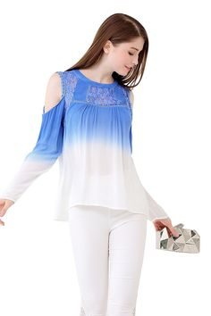 UP Ultrapink Womens Cold Shoulder Ombre Blouse