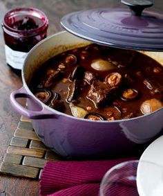 Cassis Le Creuset Signature Cast Iron Cookware - Le Creuset Cassis Cast Iron Round, Oval and Buffet Casseroles and Square Grillit. Cocotte Le Creuset, Le Creuset Cookware, Venison Recipes, Slow Cooker Recipes, Cooking Recipes, Venison Meals, Venison Stew, Deer Recipes, Wild Game Recipes