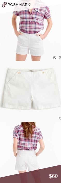 "NWT J. Crew Denim Sailor Shorts in White Sits just above hip. Front rise: 10 1/4"". 3 1/2"" inseam.  PRODUCT DETAILS Your favorite white denim shorts, now with a little bit of nautical inspiration. Plus, it features a higher rise and pretty pockets with anchor buttons.  Cotton/elastane. Machine wash. Import. J. Crew Shorts Jean Shorts"