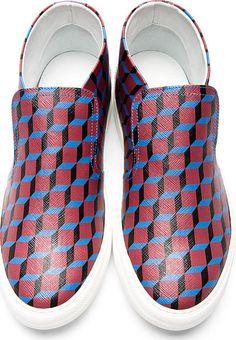 $468 PIERRE HARDY Red Cube Print Slip-On Sneakers dsquared Kenzo 39 Shoes