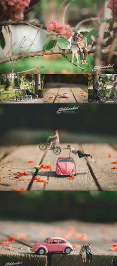 Beautifully couple thai wedding photographer, Ekkachai Saelow, turned the blissful couple into miniatures with his outstanding work. Pre Wedding Shoot Ideas, Pre Wedding Poses, Pre Wedding Photoshoot, Wedding Pics, Wedding Couples, Wedding Engagement, Farm Wedding, Boho Wedding, Wedding Reception