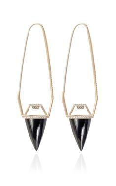 Shop Black Guatemalan Jade And White Diamond Pendulum Earrings by Monique Péan for Preorder on Moda Operandi