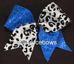 White Cheetah Sequin with Royal Sequin Cheer Bow on Etsy, $11.00