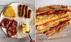 Pizza Tortilla, Breakfast Tortilla, Breakfast Quesadilla, Breakfast Wraps, Tortilla Wraps, Breakfast Toast, Breakfast Recipes, Boite A Lunch, Wrap Recipes
