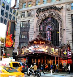 Hard Rock Cafe, 1501 Broadway (corner of West 43rd Street), New York City. The Hard Rock is in what was New York's famous Paramount Theatre, which opened in 1926 and and became the leading live entertainment house in the United States, featuring extended runs by the likes of Benny Goodman, Tommy Dorsey, Jack Benny, Frank Sinatra, and Dean Martin and Jerry Lewis. In the 1950s, promoter Alan Freed staged his famous rock and roll shows there. January 4, 2013.