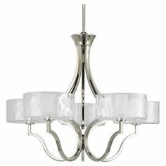 "Framed by a gently curving open silhouette and polished nickel finish, this chic chandelier lends a touch of understated elegance.  Product: ChandelierConstruction Material: Metal and glassColor: Polished nickelFeatures: 12"" Chain lengthAccommodates: (5) Bulbs - not includedDimensions: 22"" H x 27"" Diameter Note: Dimmers can be used with any incandescent or halogen light bulbs"