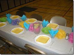 U Shaped table set up & napkin flowers