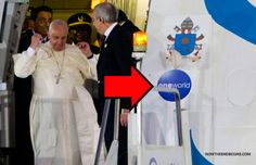 Look What Message The Vatican Papal Plane Is Proclaiming - This seal proclaims that the One World Religion spoken of by Daniel the prophet and picked up again in the book of Revelation is indeed the goal of this pope and of the Vatican system. Black Rocks, Islam, Jesus Is Coming, World Religions, New World Order, Pope Francis, Roman Catholic, Kirchen, Ancient Aliens