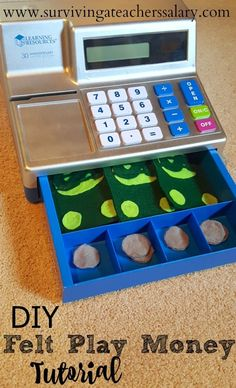 DIY No Sew Felt Money - Pretend Play for Toddlers. Love this simple math concept for little kids. You don't have to worry about small coins or ripping up the dollar bills! You can even size it to fit in their cash registers!