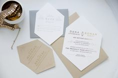 Geometric perfection - Gold and Silver Gem Invites by BuenoMarket on Etsy, $125.00
