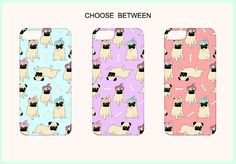 Cute & Charming Pugs Illustration iPhone + Samsung Case.   This charming Pug Smartphone Case makes the perfect gift for any Pugaholic !    *** The