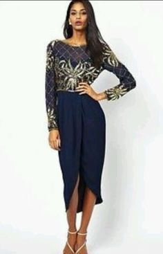 Stunning Virgos Lounge Navy/Gold Dress With Embellishment in Clothes, Shoes & Accessories | eBay
