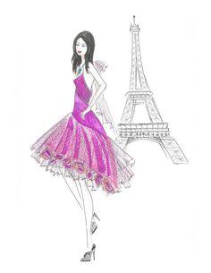 Fashion Illustration Print Girl in Purple Dress Watercolor by Zoia, $19.00