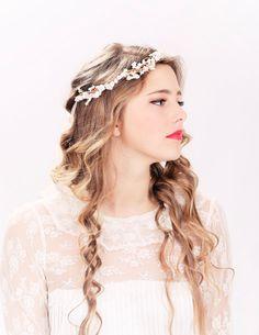 Flower crown, rustic head wreath, wedding headband, bridal hair, wedding crown. $40.00, via Etsy.