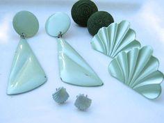 Destash Vintage Earring Lot Mint Green Enamel by GimmeeDatBling, $5.00