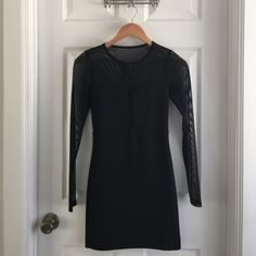 Black Mesh Body Con Dress It's in excellent condition! One of my favorite little black dresses! Dresses Long Sleeve