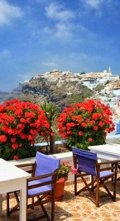 Cafe view in Santorini, Greece.  ASPEN CREEK TRAVEL - karen@aspencreektravel.com
