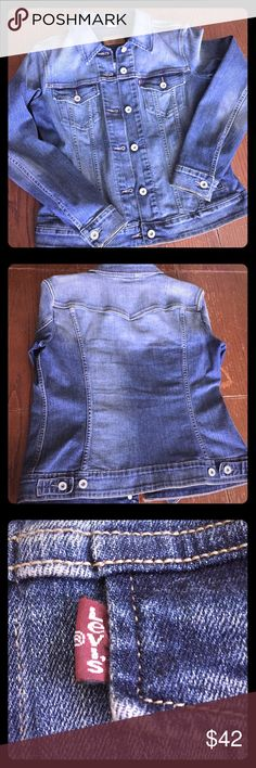 Levi Strauss Ladies Jean Jacket Excellent condition and quality blue denim jacket. No rips, tears or stains (purse is not included). Levi's Jackets & Coats Jean Jackets