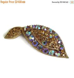 """❘❘❙❙❚❚ Spring Sale ❚❚❙❙❘❘     This is an awesome and colorful Rhinestone Leaf Brooch with Golden Topaz & Purple Red Aurora Borealis Vintage!  This brooch measures over 3"""" l... #vintage #jewelry #fashion #ecochic #vogueteam"""