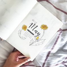 Bullet journal monthly cover page, May cover page, dandelion drawings, hand lettering. | @thizidizi
