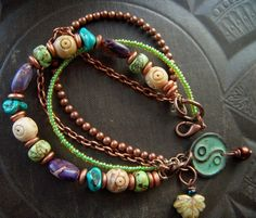 Gemstones, Copper and Glass Bracelet: Boho Jewlery. #jewellery