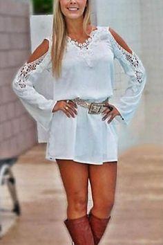 White Off-Shoulder Lace Splicing Long Sleeve Chiffon Dress