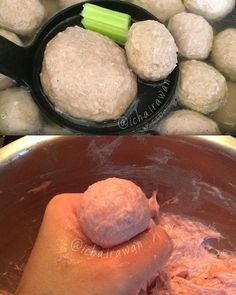 Resep Bakso Daging Bahan: kg daging giling halus bawang goreng penuh 2 sdt bawang putih goreng sdt baking powder 2 sdt garam 1 sdt gula 1 sdt merica 4 sdm penuh tepung sagu 1 putih telor 125 ml air dingi Savory Snacks, Snack Recipes, Cooking Recipes, My Favorite Food, Favorite Recipes, Happy Cook, Malay Food, Indonesian Cuisine, Fish And Meat