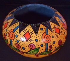 Hand painted natural gourd bowl on Etsy.