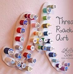 Melly Sews thread rack art - this would look awesome in my sewing room! Sewing Spaces, My Sewing Room, Sewing Rooms, Bobbin Storage, Thread Storage, Coin Couture, Bee Crafts, Sewing Crafts, Sewing Art