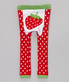 Look what I found on #zulily! Red & Green Strawberry Leggings - Infant by Doodle Pants #zulilyfinds