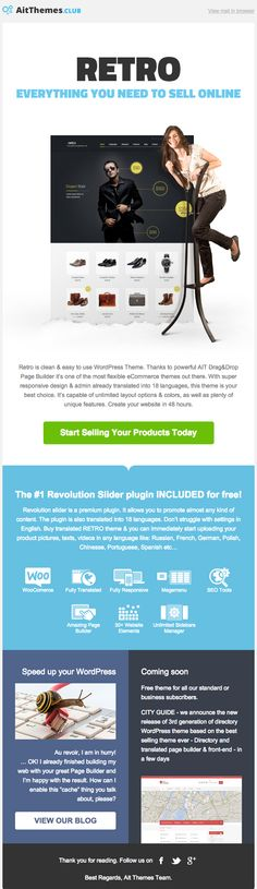Issued Retro Newsletter focused on to: - Start selling your product today - Revolution slider included - Speed up your Wordpress site - City Guide is coming soon Online Shopping Websites, Selling Online, Sliders, Wordpress Theme, Ecommerce, Flexibility, Revolution, Web Design, Layout