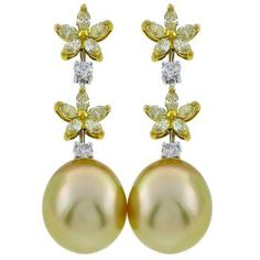0.70ct Fancy Natural Diamond 0.30ct White Diamond Golden Pearl Drop Earrings