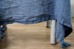 Sky blue - vintage - linen tablecloth www.notperfectlinen.com