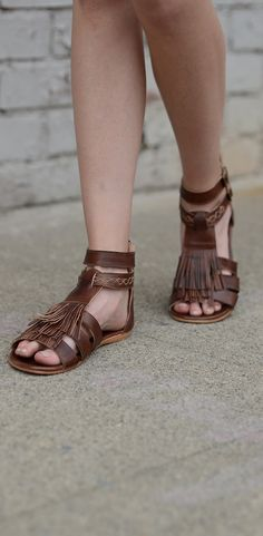 Bed Stu alena brown sandal with fringe. Perfect for the summer days ahead. Hand painted, hand crafted. A Free People, boho style sandal.