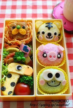 Cute & fun animal safari bento box (featuring onigiri frog, pig, & tiger, tamagoyaki giraffe, and spaghetti lion)