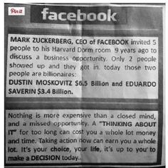 Food for thought - keep an open mind, challenge the conventional, seek out opportunities, and seek to innovate.