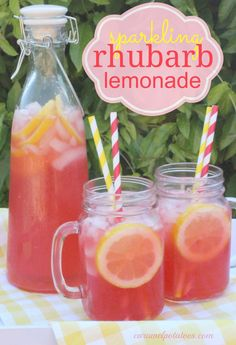 Sparkling Rhubarb Lemonade Sparkling Rhubarb Lemonade a refreshing taste of the unexpected! I would use homemade lemonade instead of the frozen but I certainly understand the time saving aspect of that :) - Fresh Drinks Refreshing Drinks, Summer Drinks, Fun Drinks, Healthy Drinks, Beverages, Healthy Food, Summer Drink Recipes, Mixed Drinks, Strawberry Rhubarb Crumble
