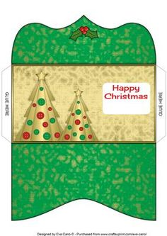 Buttons Christmas Trees II Money Wallet green on Craftsuprint - Add To Basket!