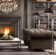 This room is all about that chandelier! Gorgeous Deep Rich colors in this Living Room. Fireplace is warm & inviting. Furnishings from Restoration Hardware. Large Chandeliers, Rustic Chandelier, Orb Chandelier, Chandelier Creative, Vintage Chandelier, Home Fashion, Great Rooms, Home And Living, Interior And Exterior