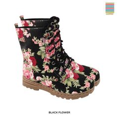 Carrini Canvas Floral Lace-Up Combat Boots - Assorted Colors-$28.00 Bonus is this site does not make you sign up to view products!