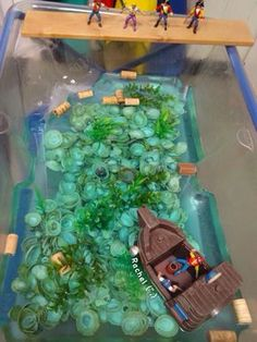 """Pirates in the Water Tray from Rachel ("""",) Pirate Activities, Eyfs Activities, Nursery Activities, Water Activities, Activities For Kids, Activity Ideas, Preschool Ideas, Tuff Spot, Pirate Day"""
