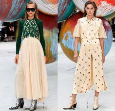 Ganni 2017 Spring Summer Womens Runway Catwalk Looks - Copenhagen Fashion Week Denmark CPHFW - Denim Jeans Shorts Cropped Wide Leg Palazzo Pants Ruffles Sunglasses Boots Outerwear Coat Embroidery Bedazzled Flowers Floral Lining Western Lace Crop Top Midriff Chunky Knit Sweater Pullover Mockneck Trainers Visor Fringes Track Jacket Vest Sleeveless Waistcoat Horses Maxi Dress Stripes Sheer Chiffon Ornamental Cutout Shoulders Pantsuit Coatdress Suede Handbag Tote