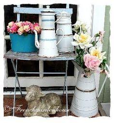 vintage enamelware with flowers