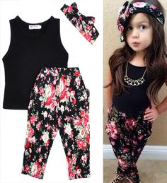 72213f623c3b0 baby girl set cute bow hair ring+Vest T shirt+Floral Print Pants girls  clothes suit summer style kids clothes sets enfant fille - Baby Clothes  House