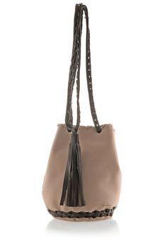 Beige Leather Bag  Bucket Purse with Long Tassel by EleannaKatsira, €135.00