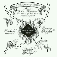 The marauder's Map Harry Potter Vinyl Wall Art Decal Tatto Harry Potter, Harry Potter Marauders Map, Images Harry Potter, Theme Harry Potter, Harry Potter Diy, The Marauders, Harry Potter Bathroom, Giant Wall Art, Harry Potter Birthday Cake