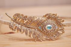 Vintage Art Deco Style Sparkly Rhinestone Peacock Feather  Headband.