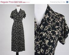 ON SALE Vintage 90s GAP Black/Cream 100% Rayon Floral Maxi Flowing Button Front Dress S