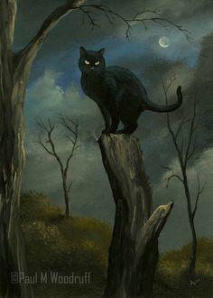 "ACEO Print ""Black Cat"" Halloween Night Moon Spooky Art Card by Paul M Woodruff | eBay~this is terrific!!"