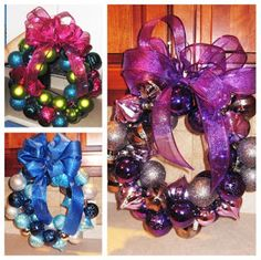 Christmas Ball Wreath - super quick and easy! Christmas Balls, Christmas Crafts, Xmas, Christmas Ideas, Ornament Wreath, All Things Christmas, 4th Of July, Diy Crafts, Wreaths